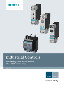 Industrial Controls Monitoring and Control Devices 3UG4 / 3RR2 Monitoring Relays Gerätehandbuch