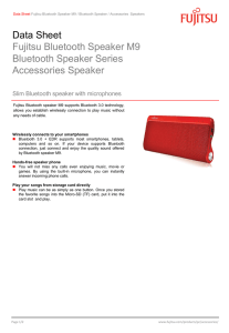Data Sheet Fujitsu Bluetooth Speaker M9 Bluetooth Speaker Series Accessories Speaker