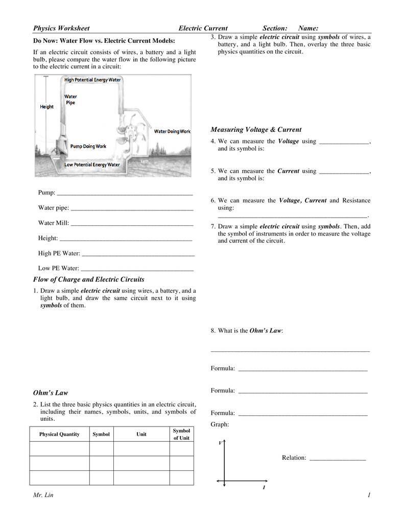 Physics Worksheet Lesson 18 Electric Current Measurements In Circuits