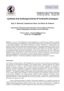 Synthesis And Antifungal Activity Of Terbinafine Analogues