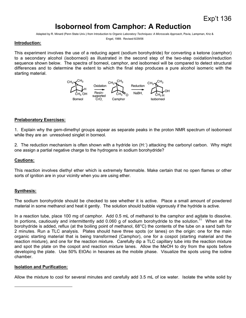 Isoborneol from Camphor: A Reduction