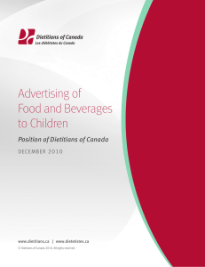 Advertising of Food and Beverages to Children