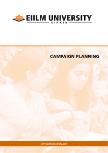 CAMPAIGN PLANNING www.eiilmuniversity.ac.in