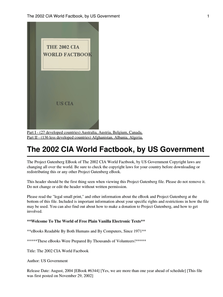 The 2002 CIA World Factbook, by US Government