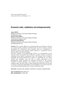Economic order, catallactics and entrepreneurship