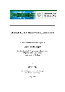 chinese bank`s credit risk assessment - STORRE