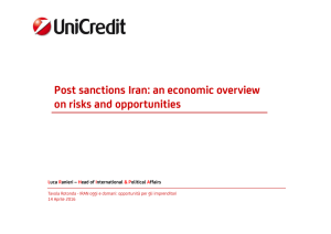 Post sanctions Iran: an economic overview on risks and opportunities