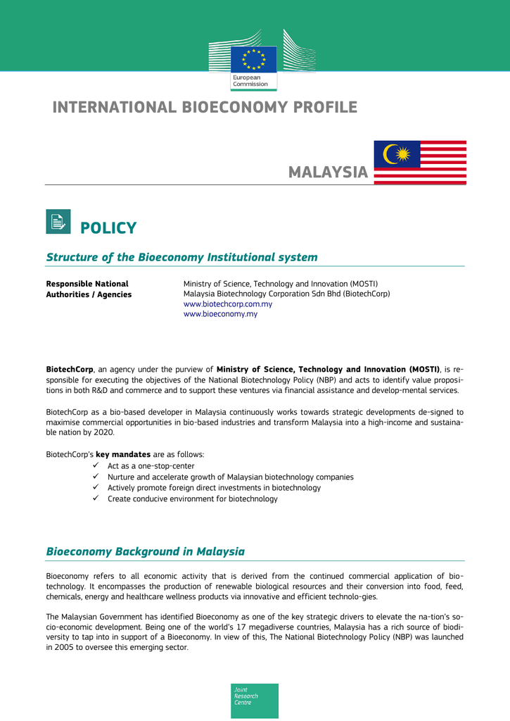 International Bioeconomy Profile Malaysia Policy