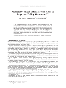 Monetary–Fiscal Interactions: How to Improve Policy Outcomes?* Jan Libich, James Savage