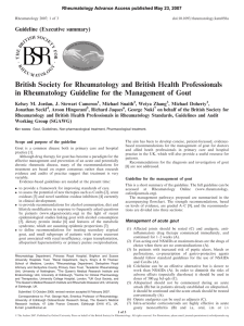 Management of Gout - The British Society for Rheumatology
