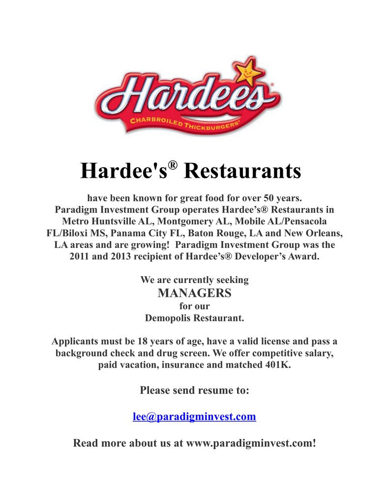 hardee s restaurants the west alabama watchman