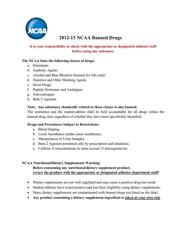 NCAA Banned Substance List