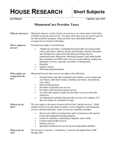 MinnesotaCare Provider Taxes - Minnesota House of Representatives