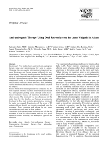 Anti-androgenic Therapy Using Oral Spironolactone for Acne