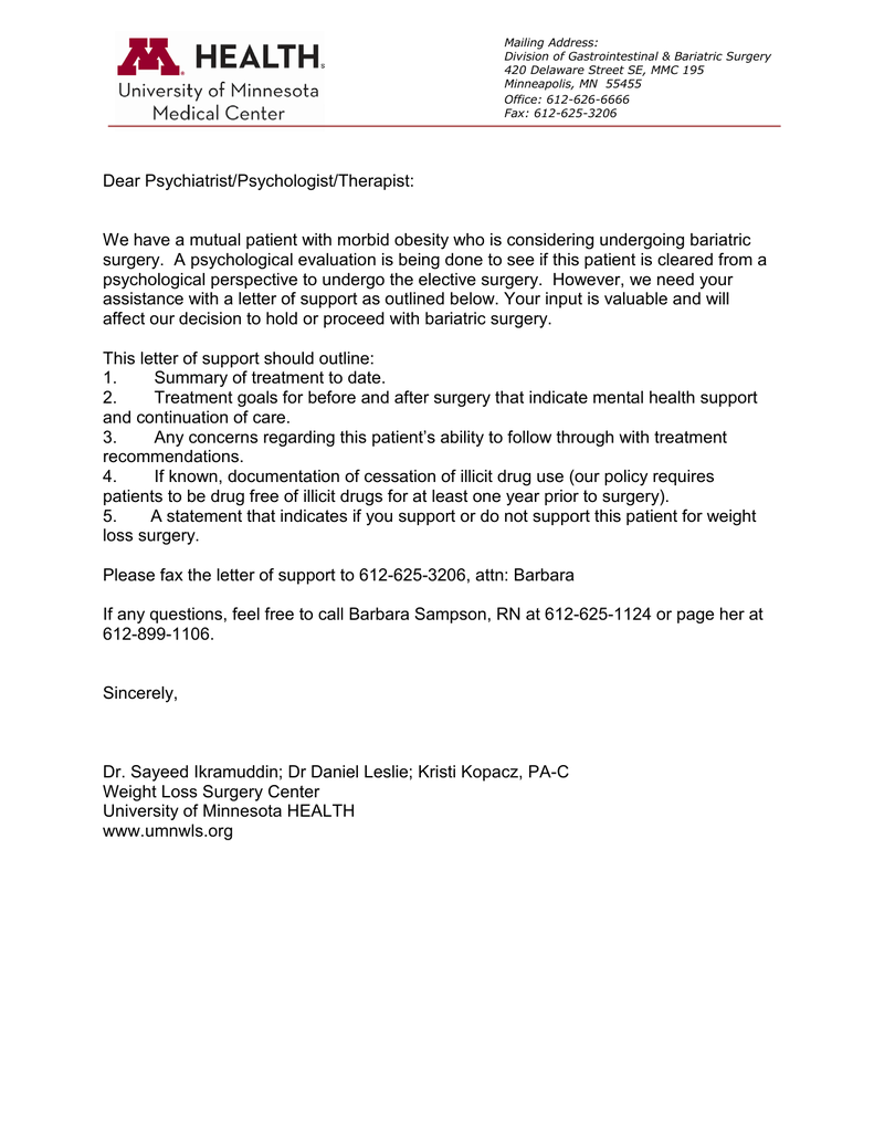 Request for Therapist Letter of Support