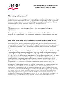 Prescription Drug Re-Importation Question and Answer Sheet