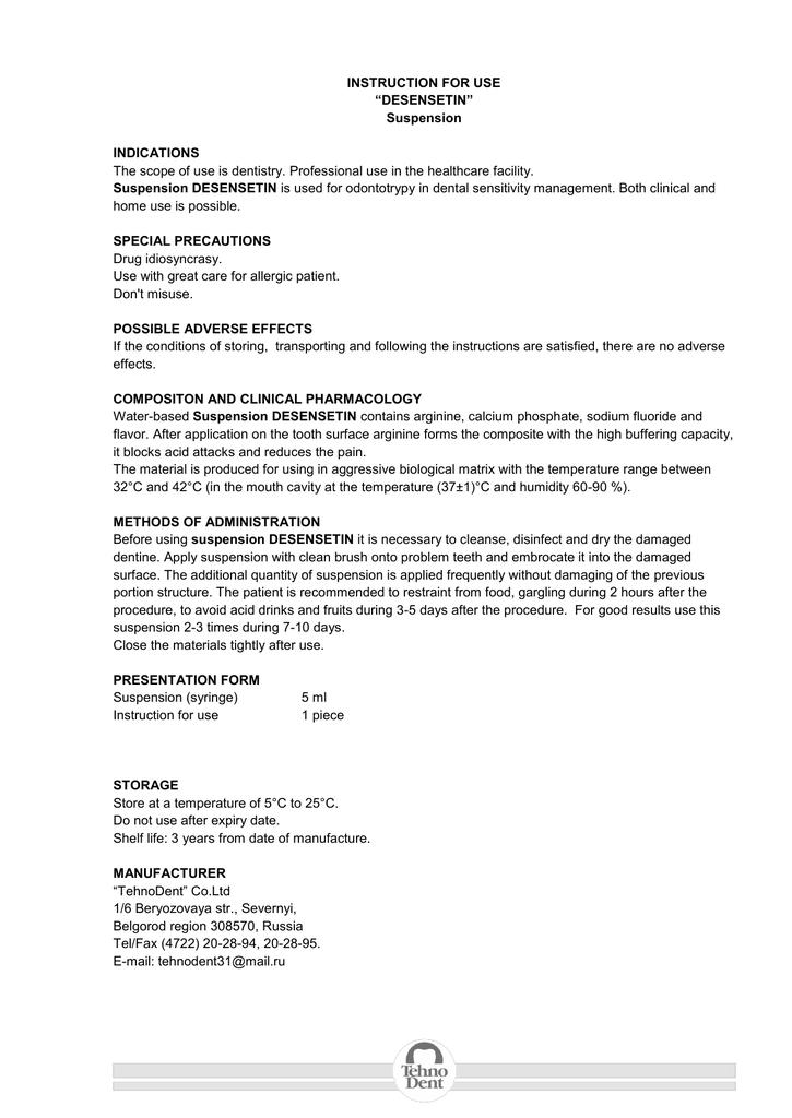 Instruction For Use Desensetin Suspension