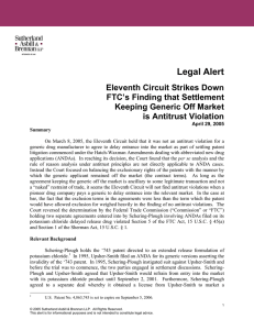 Legal Alert Eleventh Circuit Strikes Down FTC`s Finding that