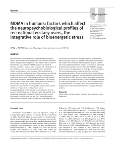 MDMA in humans: factors which affect the neuropsychobiological
