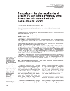 Comparison of the pharmacokinetics of Crinone 8% administered
