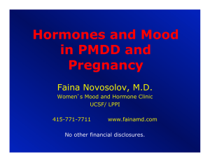 Hormones And Mood In PMDD And Pregnancy