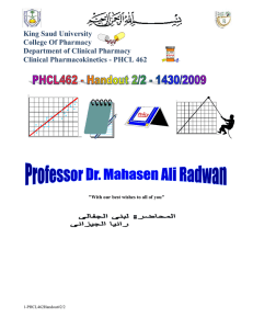 King Saud University  College Of Pharmacy Department of Clinical Pharmacy