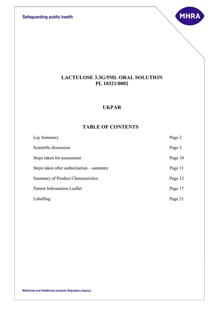 LACTULOSE 3 3G/5ML ORAL SOLUTION PL 10321/0002 UKPAR