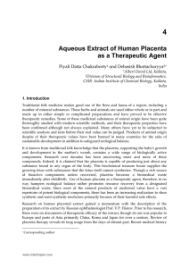 4 Aqueous Extract of Human Placenta as a Therapeutic Agent Piyali Datta Chakraborty