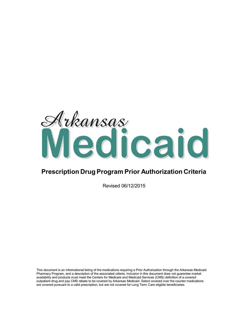 Arkansas Medicaid Pharmacy Prior Authorization Criteria