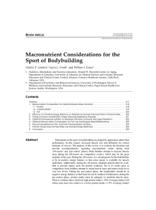 Macronutrient Considerations for the Sport of Bodybuilding