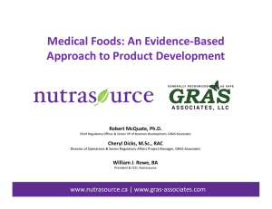 Medical Foods: An Evidence-Based Approach to Product