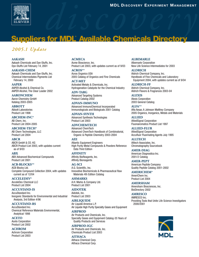 Su liers for MDL Available Chemicals Directory pp