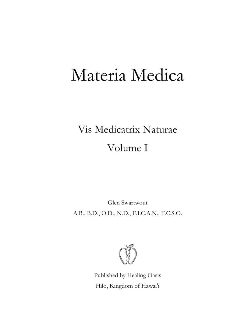 Materia_Medica: Vis Medicatrix Naturae