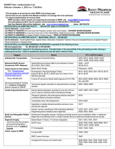 RMHP Prior Authorization List Effective October 1, 2015 rev 7/18/2016