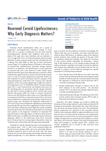 Neuronal Ceroid Lipofuscinoses: Annals of Pediatrics & Child Health Central