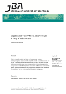 Organization Theory Meets Anthropology: A