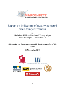 Indicators of quality adjusted price competitiveness