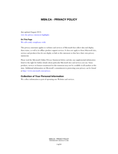 msn.ca - privacy policy