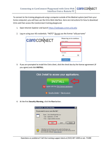Connecting to CareConnect Playground with Citrix Web Interface