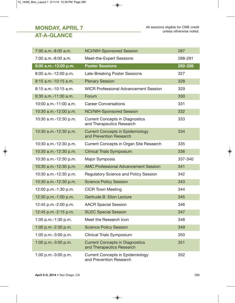 e06237a4a70bf Detailed Schedule - Monday