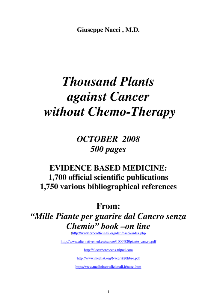 Thousand Plants against Cancer without Chemo