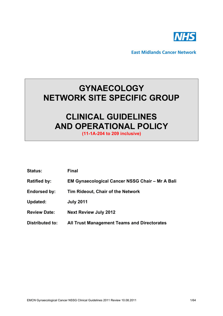 GYNAECOLOGY NETWORK SITE SPECIFIC GROUP CLINICAL GUIDELINES