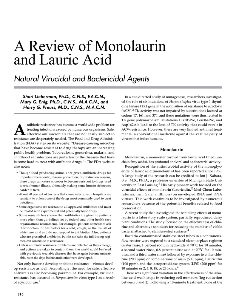 A Review of Monolaurin and Lauric Acid