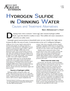 Hydrogen Sulfide in Drinking Water