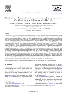 Eradication of Propionibacterium acnes by its endogenic porphyrins