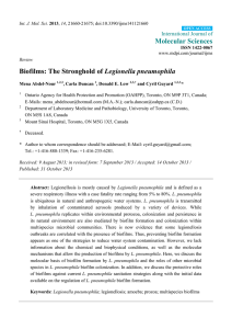 Molecular Sciences Legionella pneumophila International Journal of