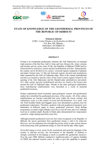 state of knowledge of the geothermal provinces of the