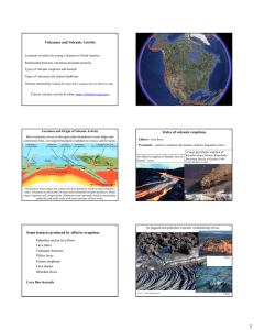 Volcanoes and Volcanic Activity Styles of volcanic eruptions Some