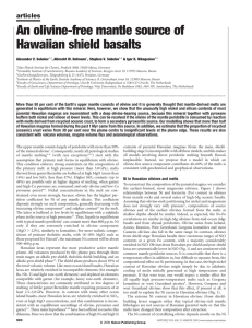 An olivine-free mantle source of Hawaiian shield