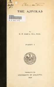 The Ajivikas - Rare Book Society of India